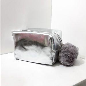 Nordstrom Beauty Silver Vegan Leather Makeup Bag